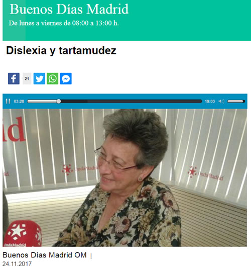 """Buenos Días"". Onda Madrid. 24/11/2017. DISLEXIA Y TARTAMUDEZ"