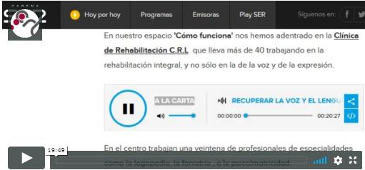 """Entrevista y reportaje sobre CRL en la Cadena SER, programa """"Hoy por Hoy Madrid"""", sección """"Como funciona""""."""
