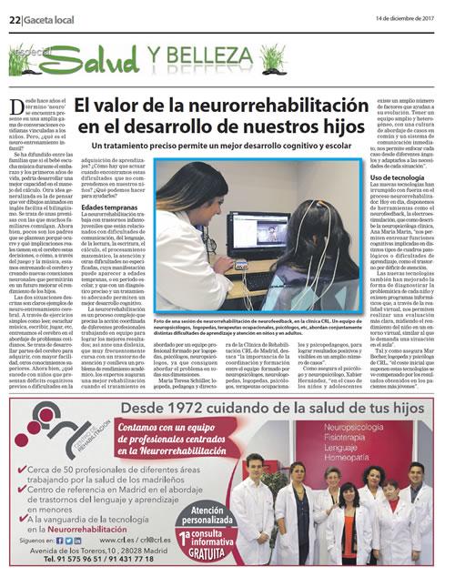 """Periódico """"Gaceta Local"""". 14/12/2017. EL VALOR DE LA NEURORREHABILITACIÓND"""